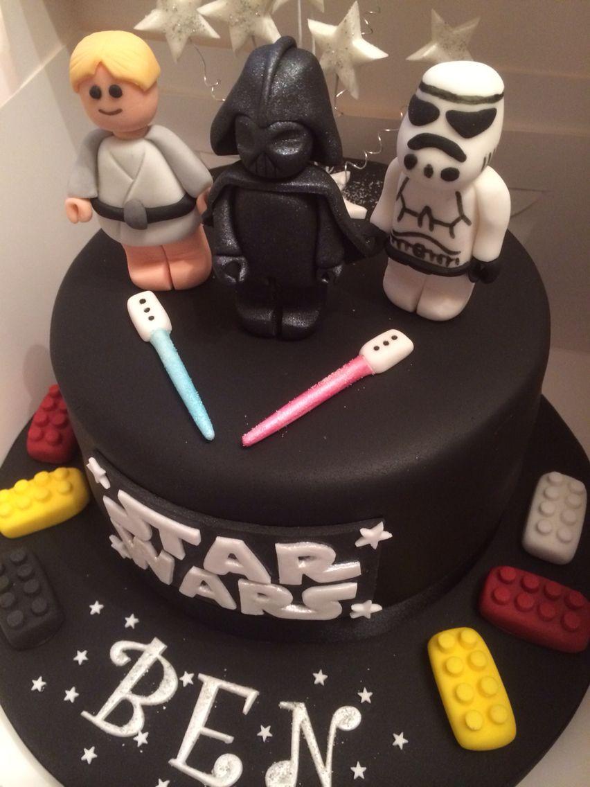 Star Wars Lego Cake Darth Vader Luke Skywalkers And Stormtrooper Star Wars Cake Cake Kids Cake