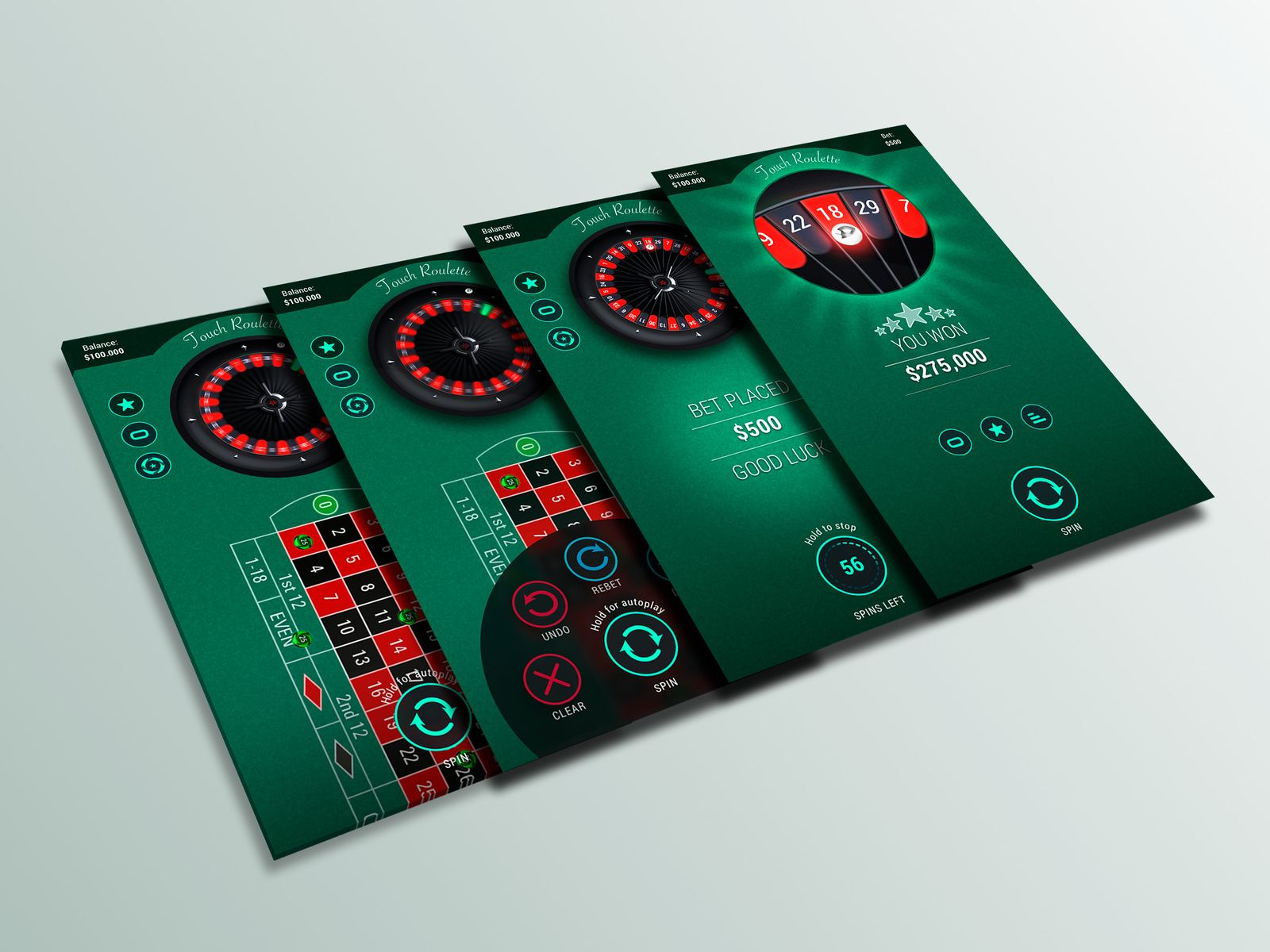 Mobile Touch Roulette Game Concept Roulette Game Roulette Game Concept