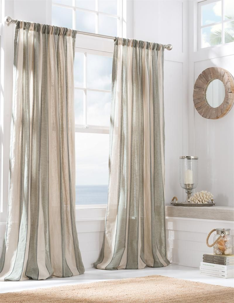 Monica Pedersen Pacific Stripe Striped Linen Curtain Panel In