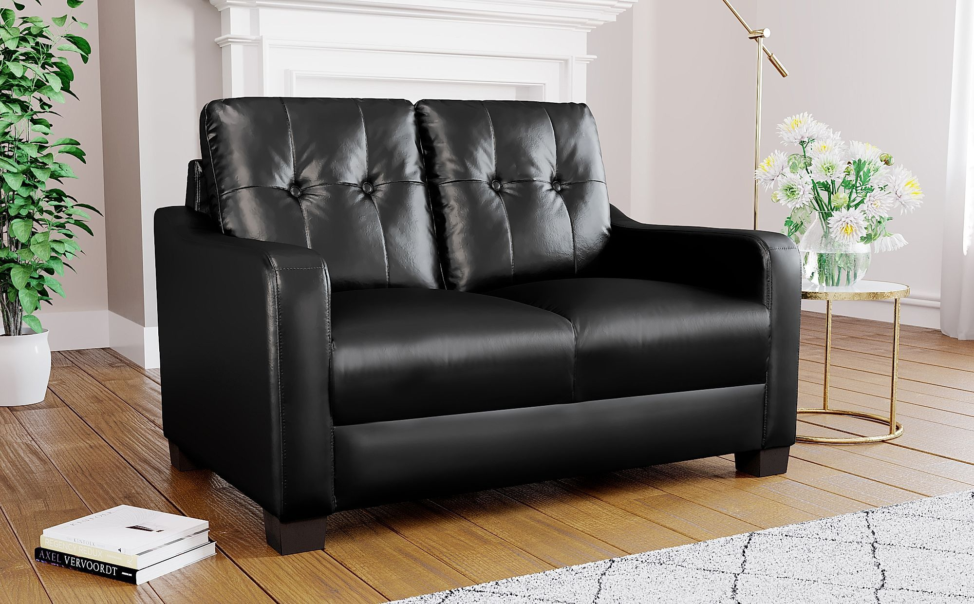 Belmont Black Leather 2 Seater Sofa 2 Seater Sofa Fabric Dining Chairs Sofa Furniture
