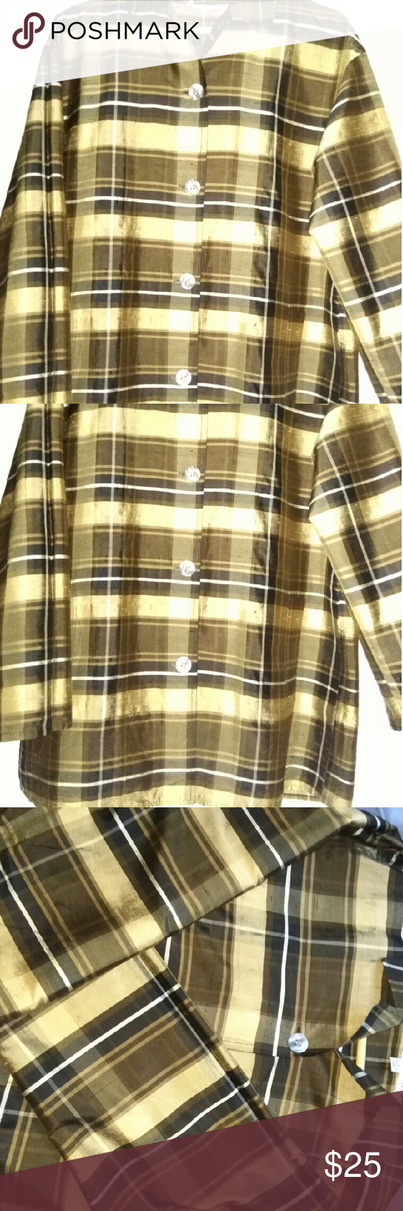 """EUC 100% silk beautiful swing lightweight jacket Worn 2X for a few hours.  Beautiful & Unique lightweight silk jacket. Long sleeves can be rolled up for a casual look.  Baby doll oversized style. Size S but would fit anywhere between XS to M due to style.  Details and quality are amazing, pearl buttons - pic don't do justice!  Dry clean or gentle cycle machine wash. 20"""" shoulder when flat, 30"""" long.    Smoke free. Gruppo Americano Jackets & Coats Pea Coats"""