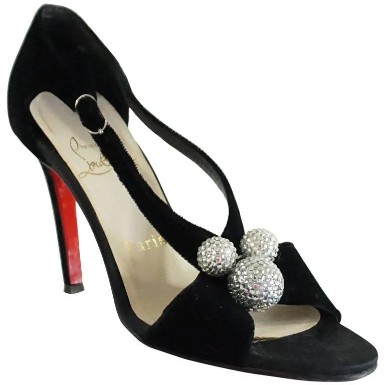 sale retailer a1c99 4abb1 Christian Louboutin Black Velvet Sandals With Rhinestone ...