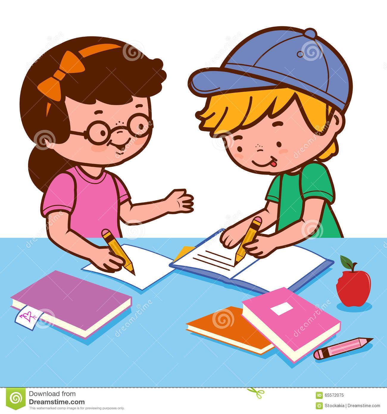 Girl And Boy Doing Homework