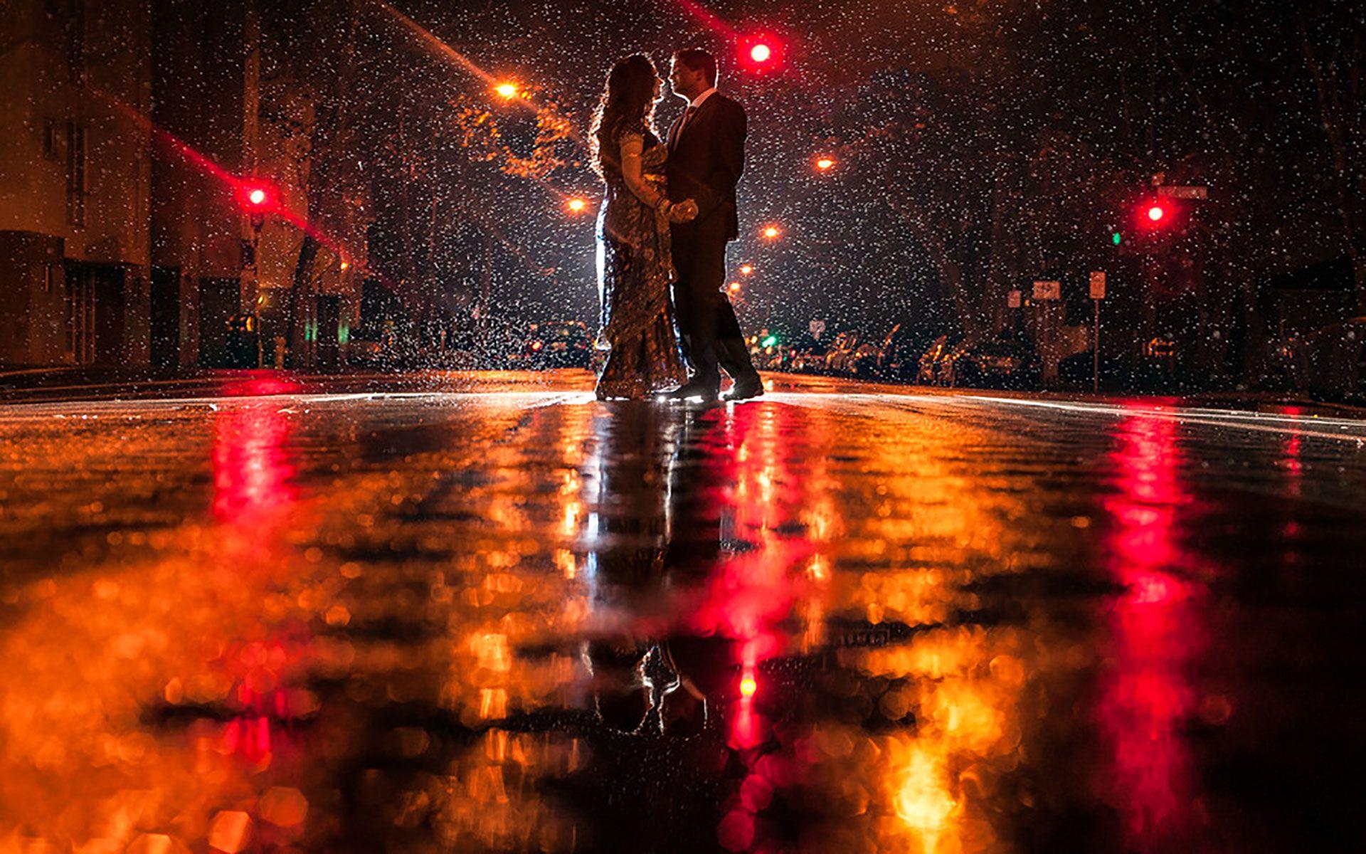 Romance Of Cute Couple In A Rainy Night