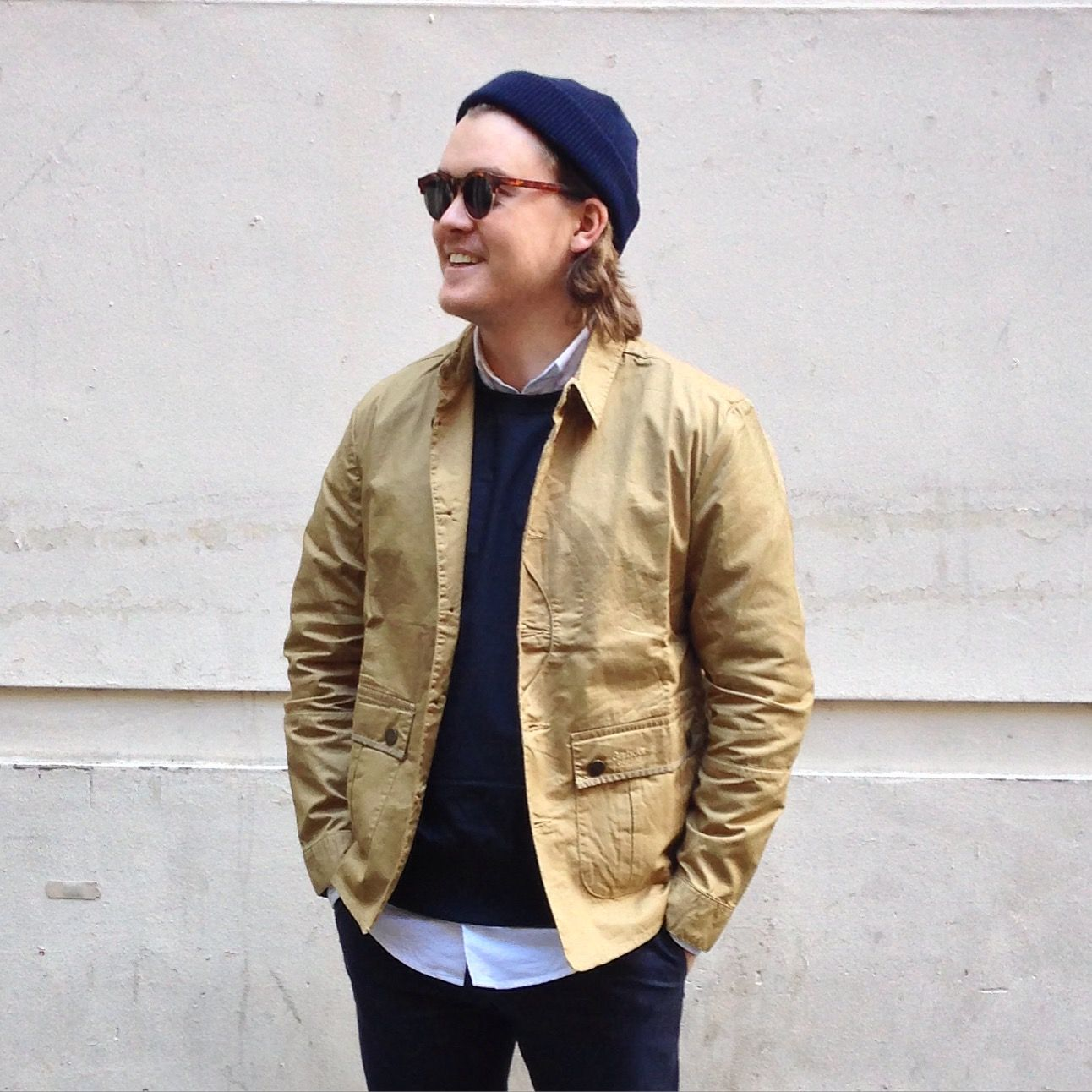 Chris wears: Barbour Caswell Overshirt in Trench / Our Legacy Weaved Cotton  Top in Navy