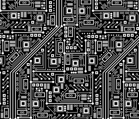 Robot Circuit Board Large Black And White Fabric By