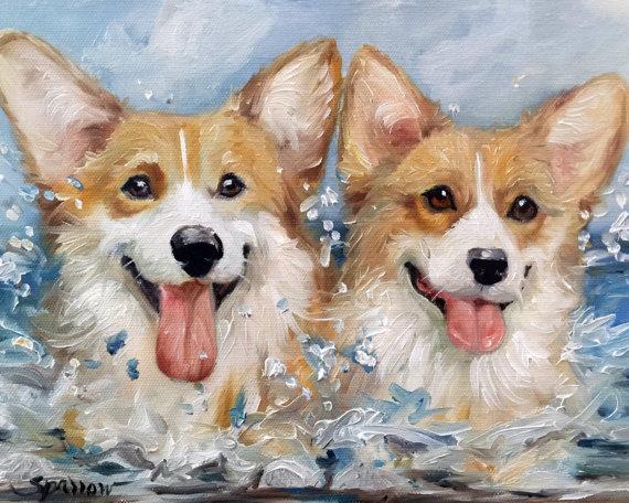 Print Pembroke Welsh Corgi Dog Art Beach Summer Ocean Etsy Corgi Art Dog Art Corgi Dog