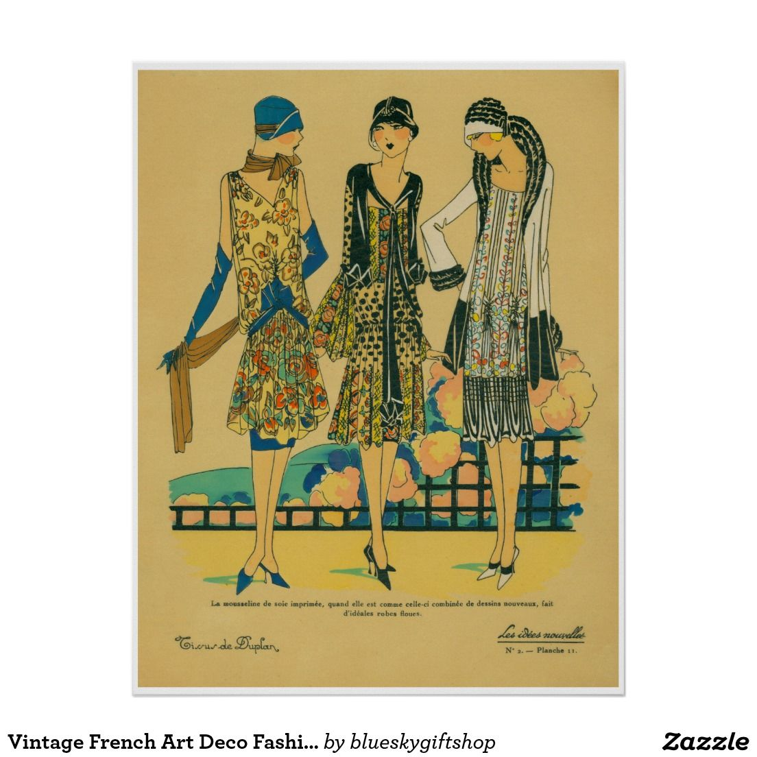 Vintage French Art Deco Fashion Poster | posters | Pinterest ...