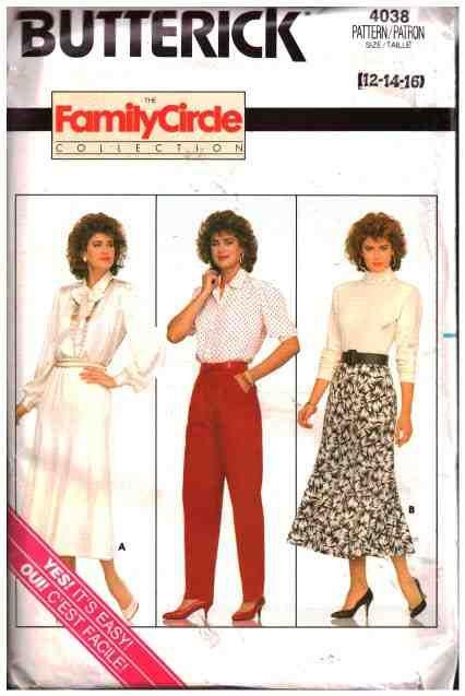 Butterick Sewing Pattern 4038 Misses' Skirt, Pants  Size:  12-14-16  Uncut