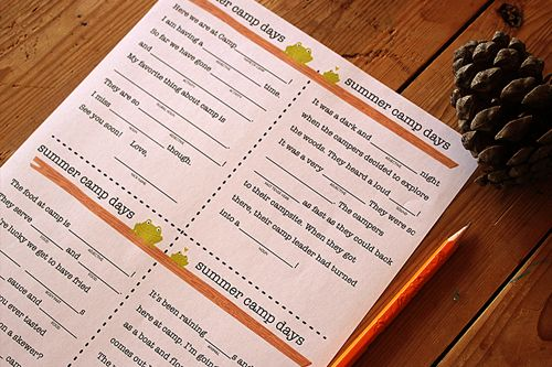 Summer Camp Word Game FillInTheBlank Printable  Word Games