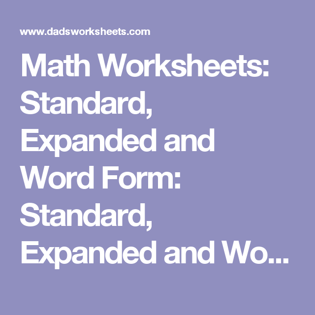 Math Worksheets Standard Expanded and Word Form Standard – Word Form Math Worksheets