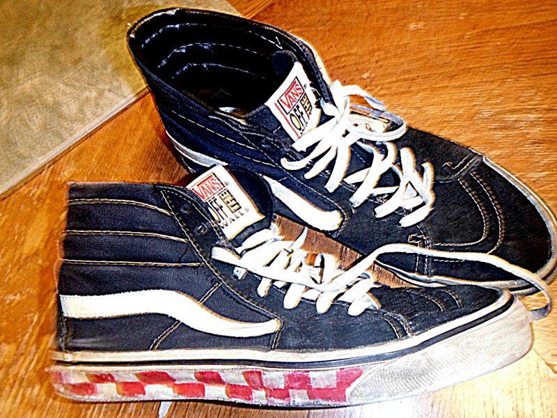 worn Vans hi-tops, skateboard. skater