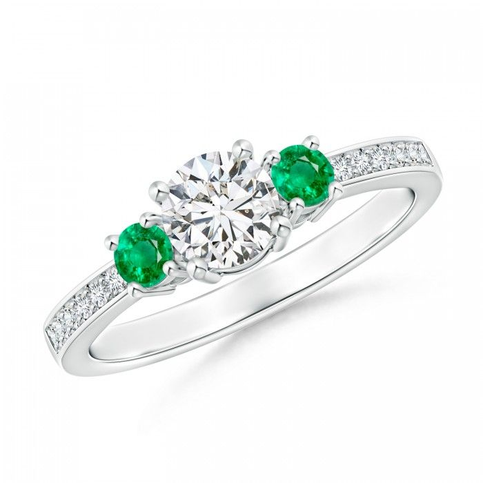 Angara Classic Three Stone Natural Emerald Cathedral Ring Oa5wMEzK