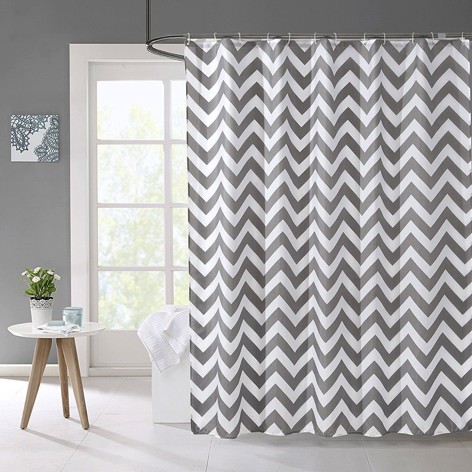 Amazon Hogoo Shower Curtain with Hooks Treated to Resist