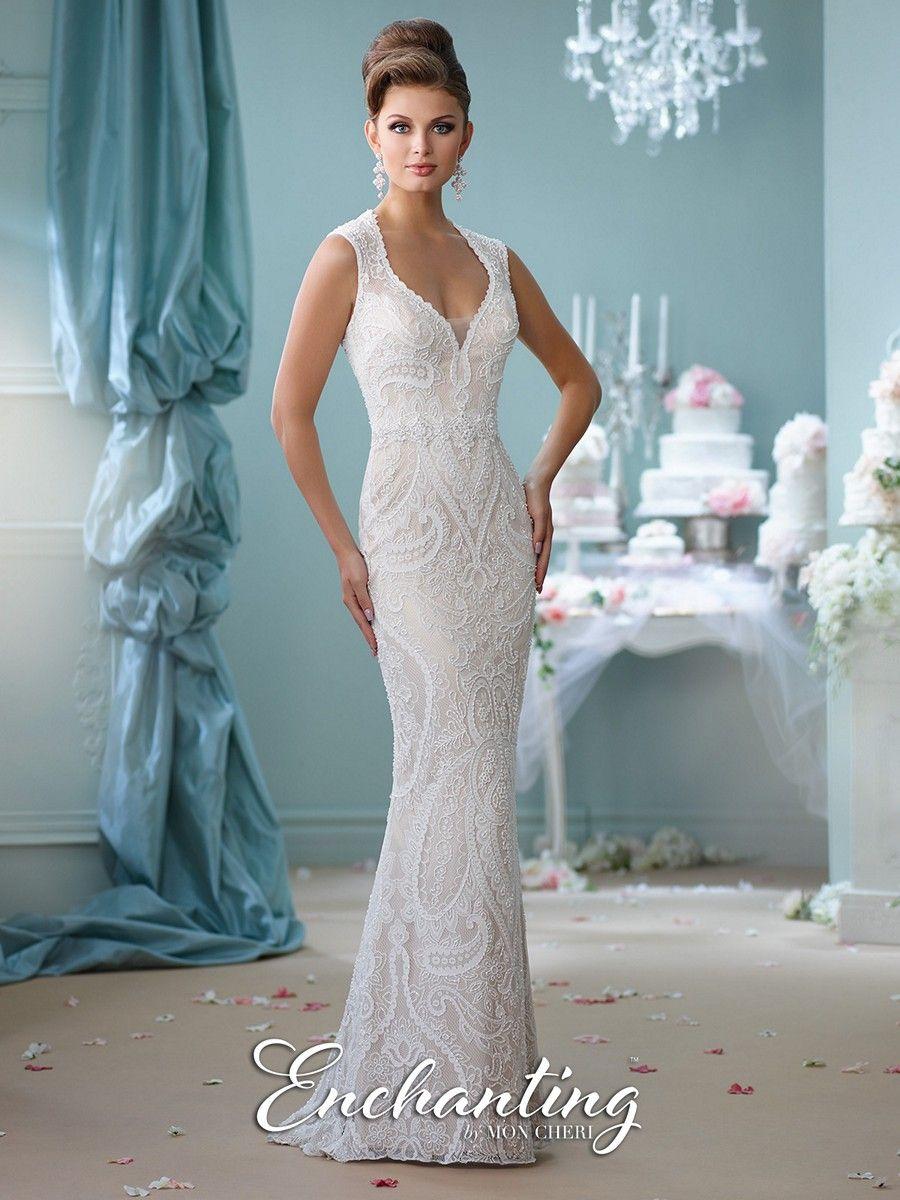 The Enchanting by Mon Cheri 116123 wedding dress has a sheath ...