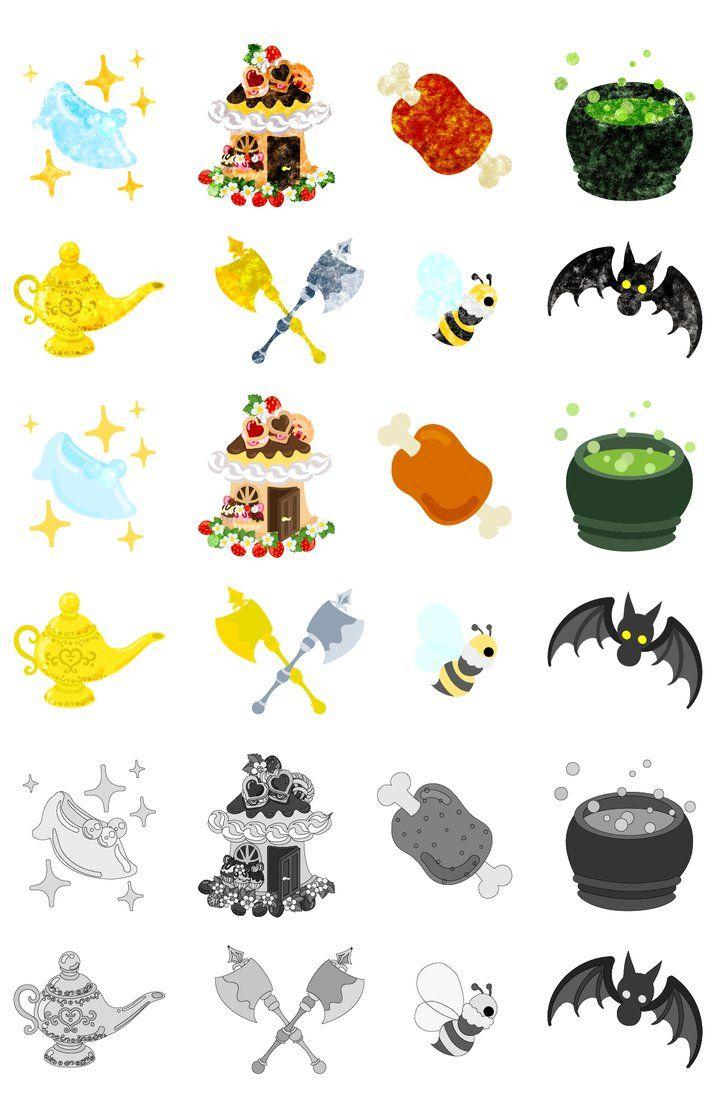 フリーのイラスト素材「可愛いアイコン / cute icons」 by atelier-bw