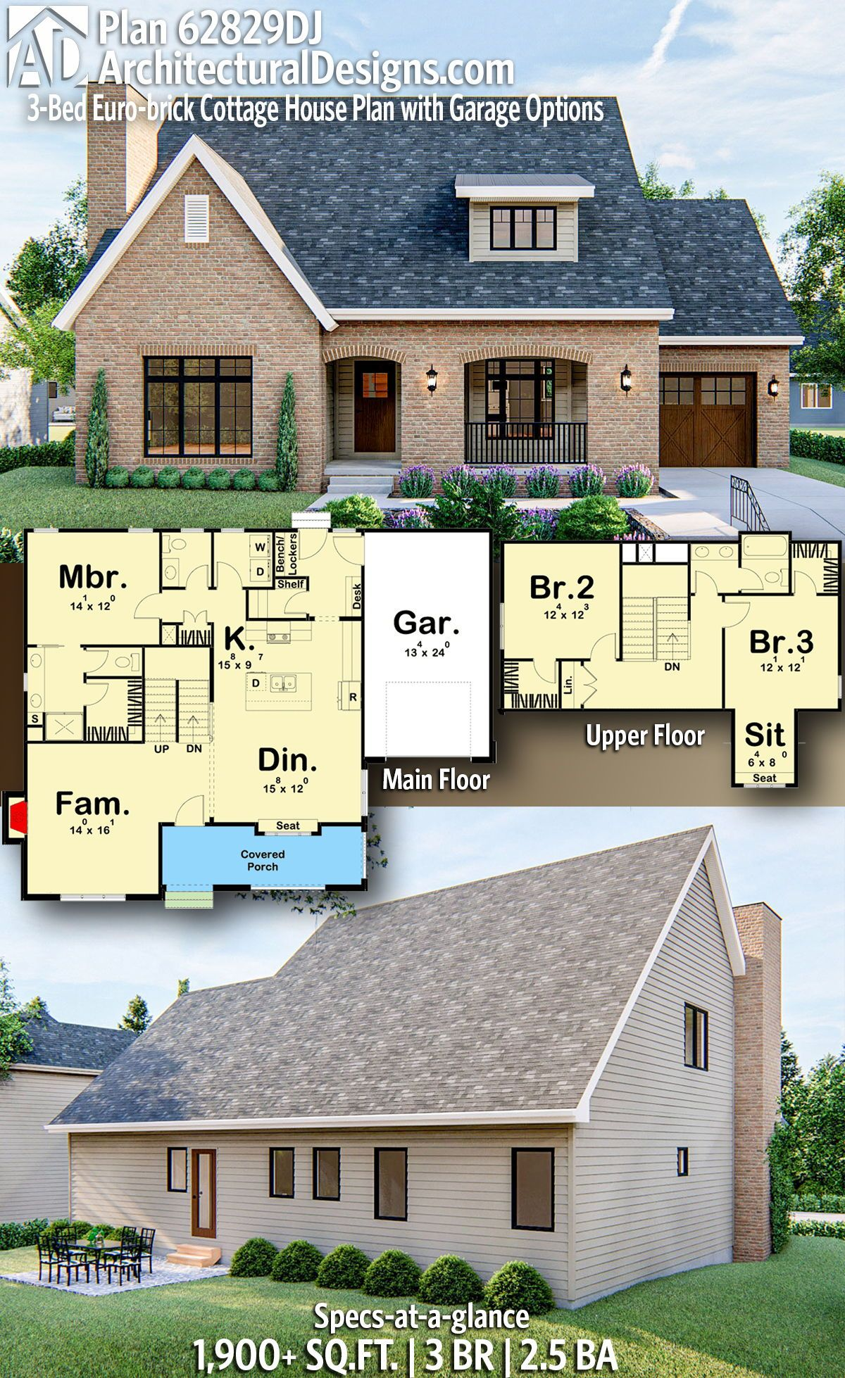 Plan 62829dj 3 Bed Euro Brick Cottage House Plan With Garage Options Brick Cottage Cottage House Plans House Plans