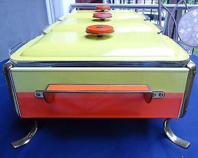 Vintage Mod Food Warmer Buffet Chafing Dish Triple Fire King