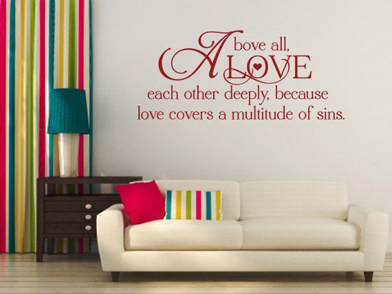 Christian Wall Decal Above All Love Each Other 60 CD 60 Scripture Classy Love Quotes Wall Decals