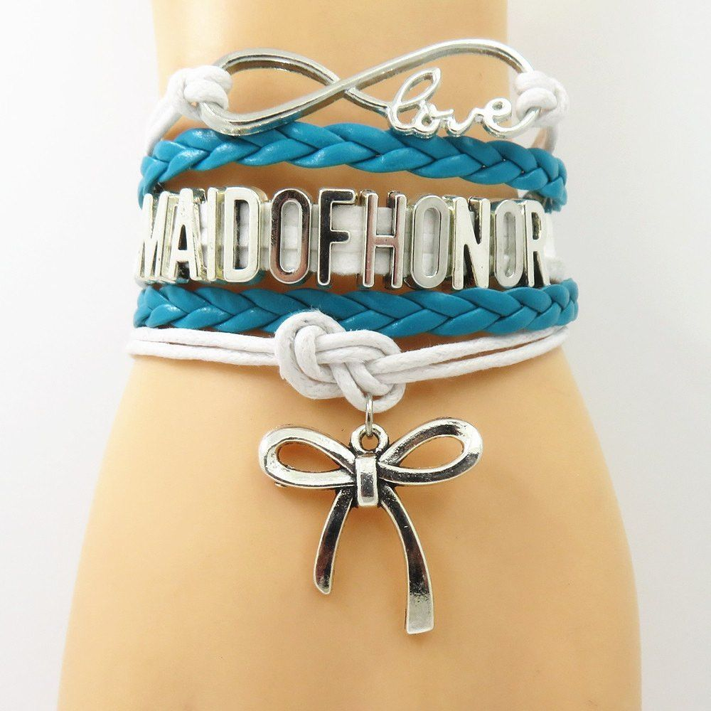 Infinity Love Teal Wedding Party Bracelets - 50% Off Sale