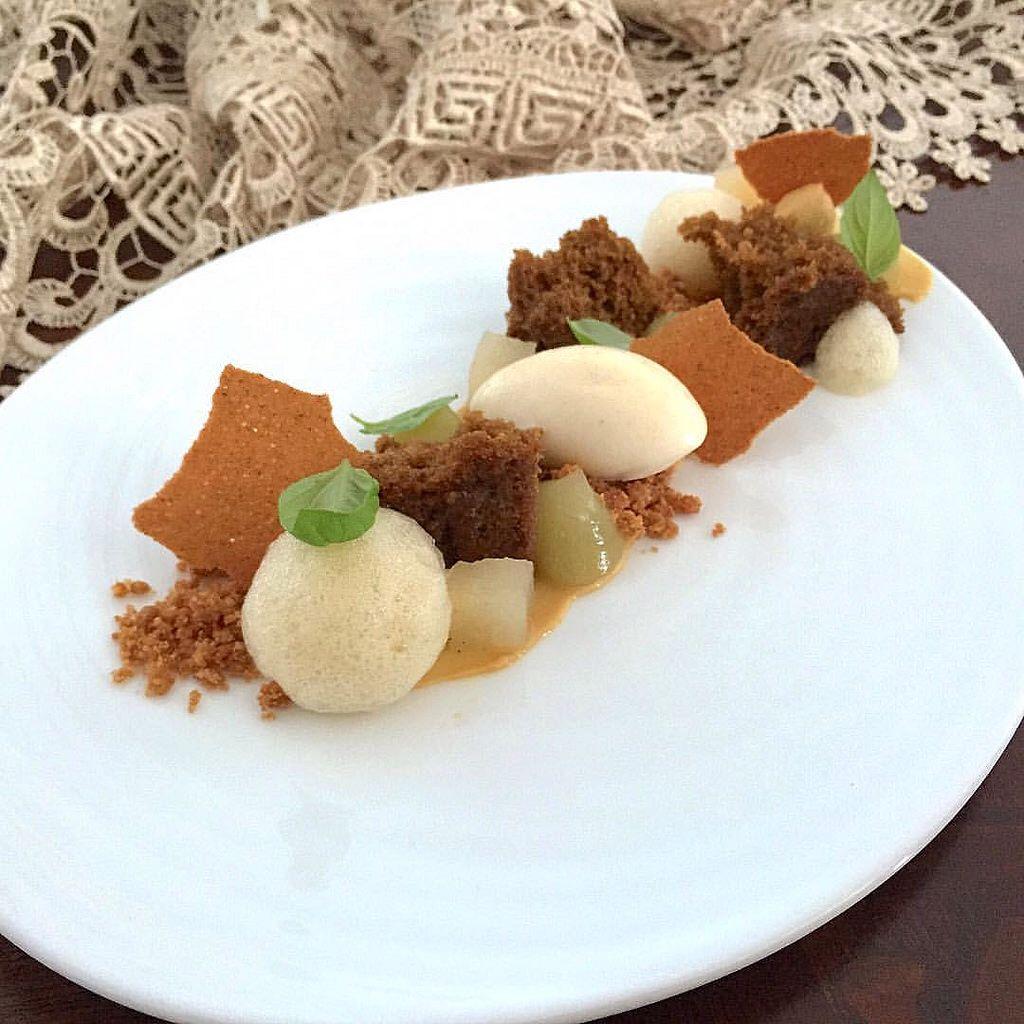 Spiced Cake Pear Sorbet Honey Burnt Cremeux Cinnamon Tuile
