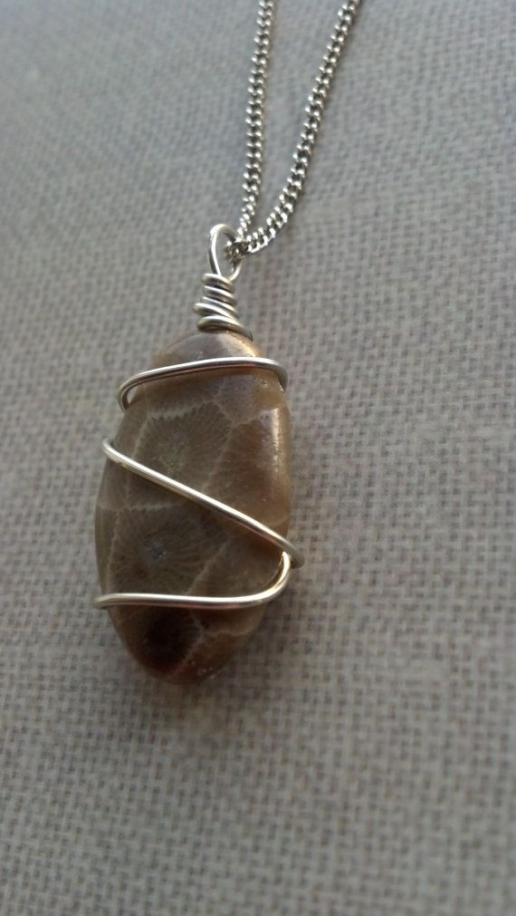 Pudding Stone wire wrap pendant necklace.