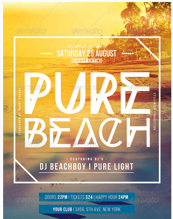 Pure Beach Flyer Party Flyer Templates For Clubs Business