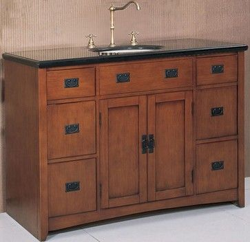 48 Inch Wide Mission Style Single Sink Vanity In Spice Oak Finish