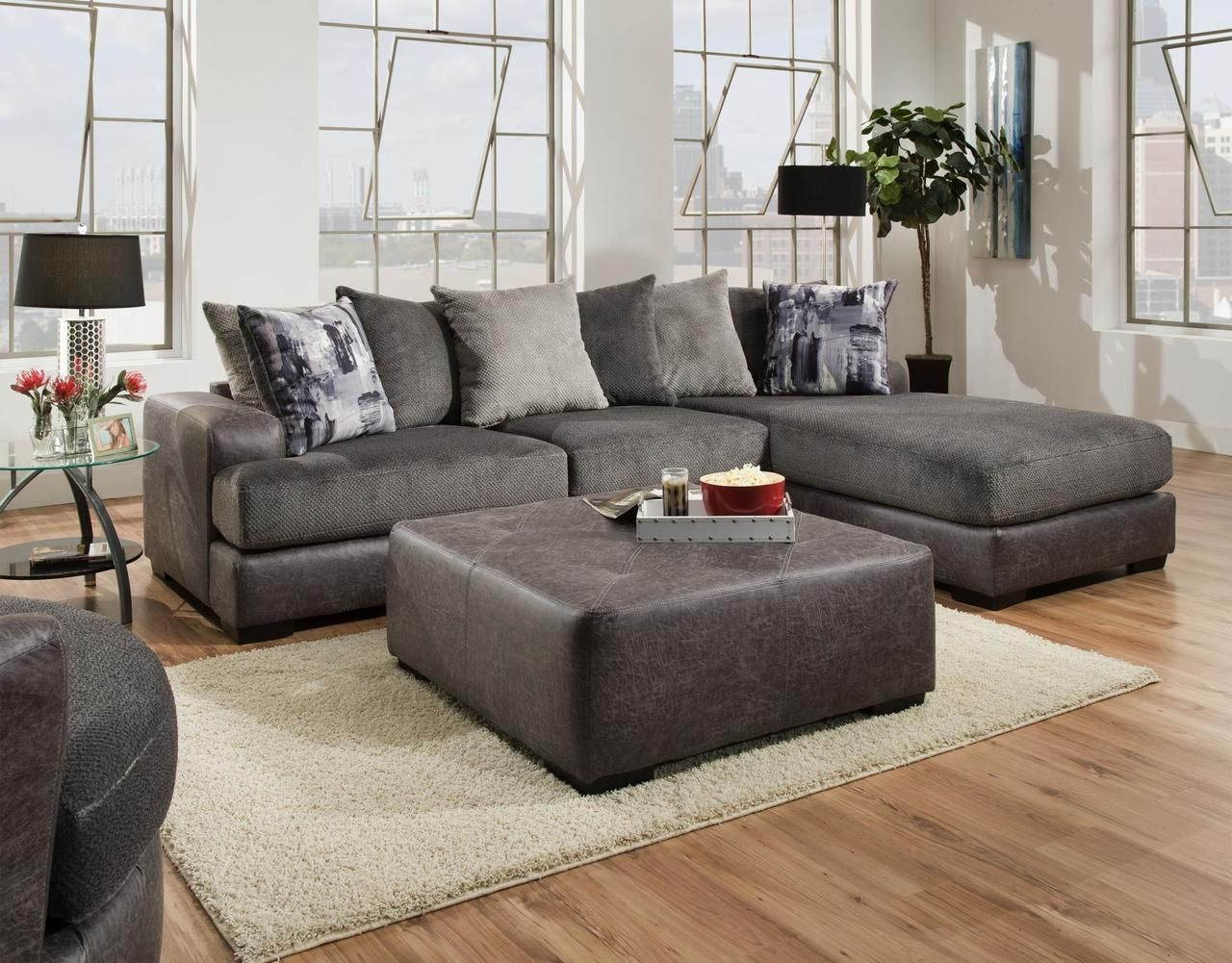 Albany Wesley Dove 682 Sectional Sofa Savvy Discount Furniture