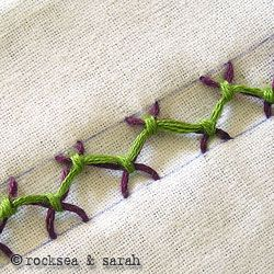 tied herringbone stitch » Sarah's Hand Embroidery Tutorials