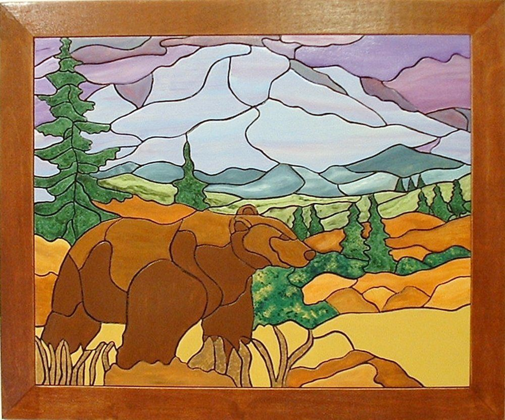 Bear in the mountains wood sculpture wall decor wall hanging