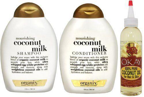organix coconut milk shampoo and conditioner set wit okay 100 pure