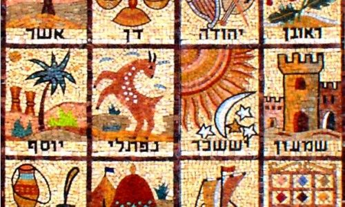 Mosaic Of The 12 Tribes Of Israel From A Synagogue Wall In