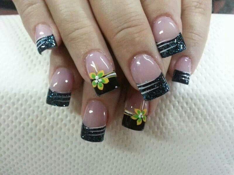 Uñas Punta Negra Nails Nails Nail Designs Y Nail Art