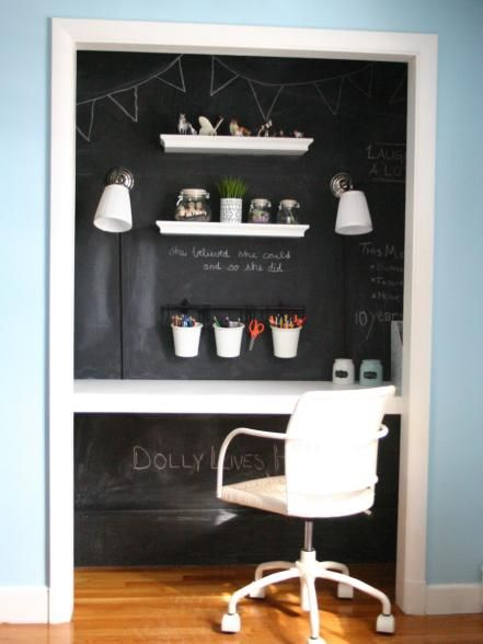 Use Chalkboard Paint To Create A Functional Work Wall In Your Transformed  Closet.