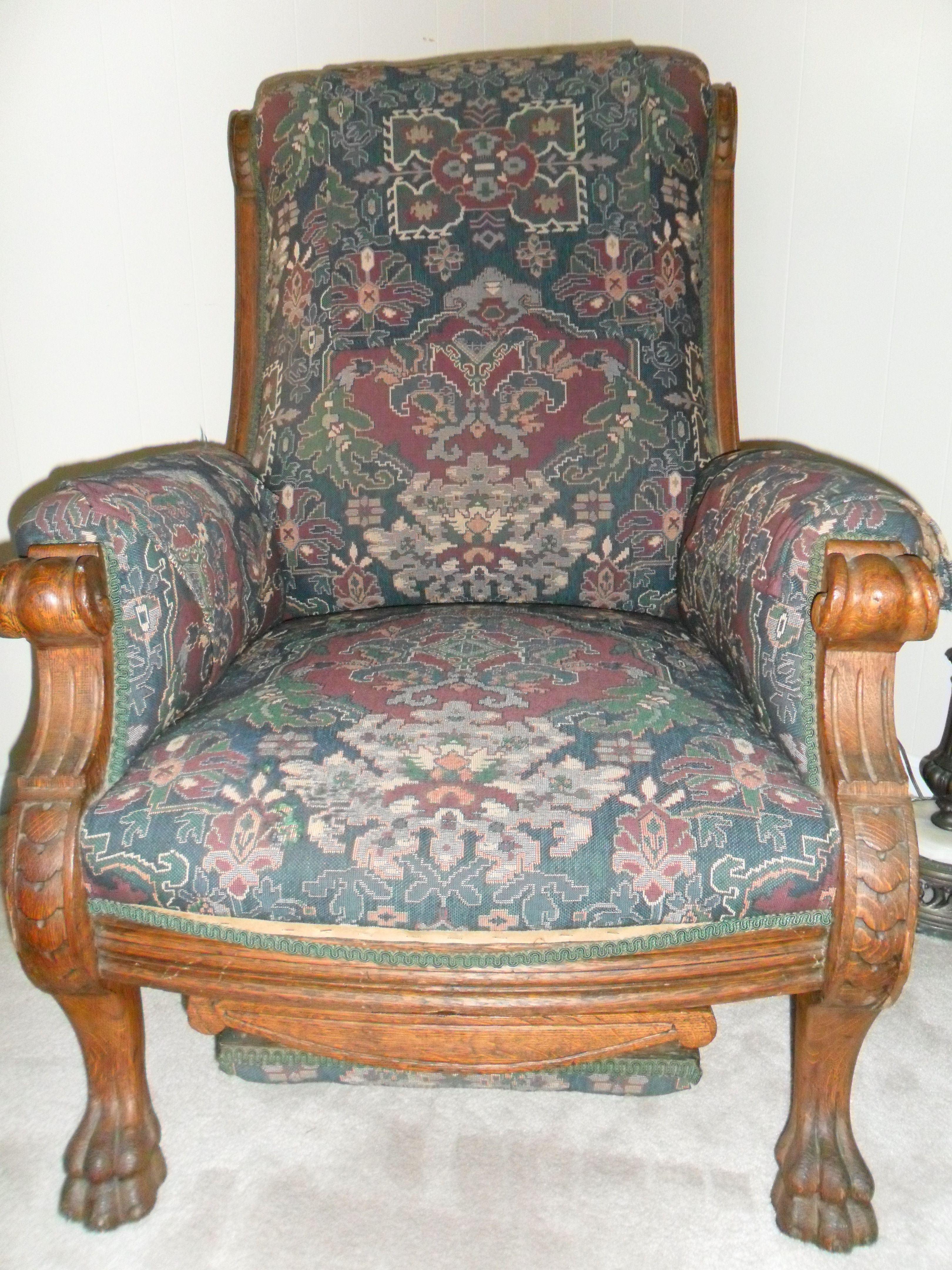 Awe Inspiring Antique Claw Foot Chair With Pullout Foot Rest I Dont Know Machost Co Dining Chair Design Ideas Machostcouk