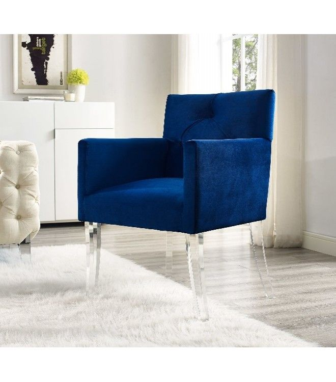 Royal Blue Velvet Armchair Acrylic Legs Furniture
