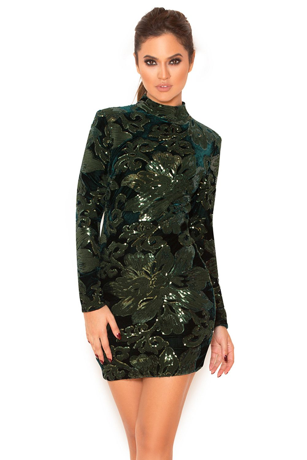 9b98e4becdc Clothing   Bodycon Dresses    Larena  Emerald Hand Embellished Sequin Dress
