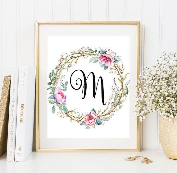 Monogram M Letter Print Boho Wreath Decor Initial