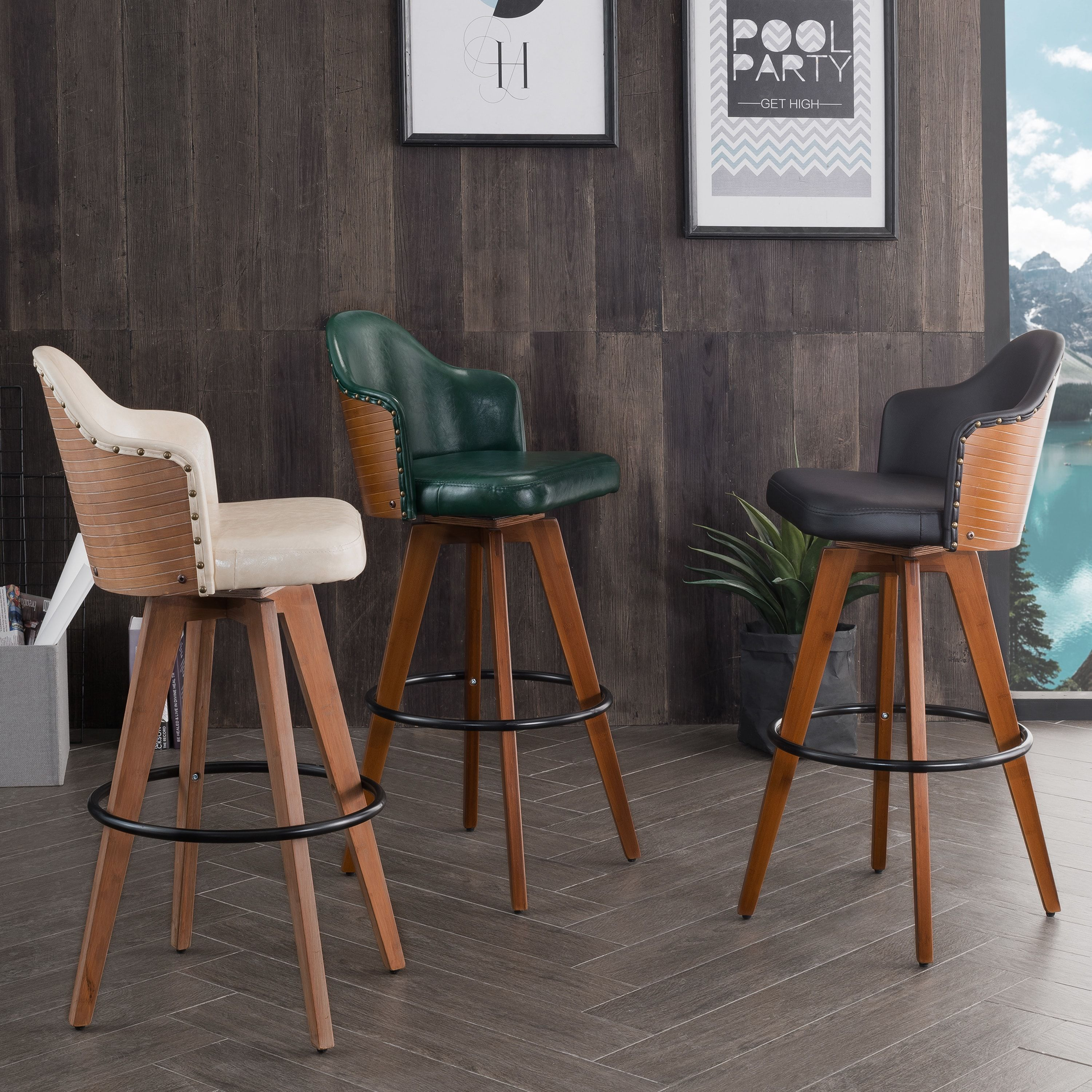 bamboo purchase wooden swivel cheap stools chairs padded stool metal rotating bar backs faux with kitchen
