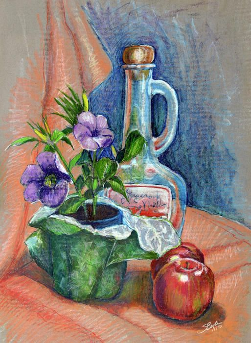 Bottle With Plants Still Life By Stephen Boyle Pastel Artwork