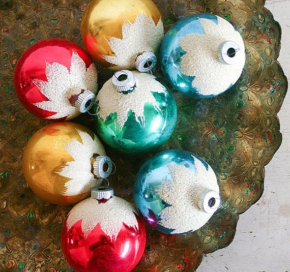 Vintage Christmas Ornaments with White Flocking - Shiny Brite