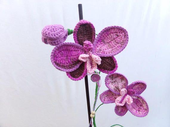 Orchidee Au Crochet Violette Fait Main Orchidee Crochet Crochet