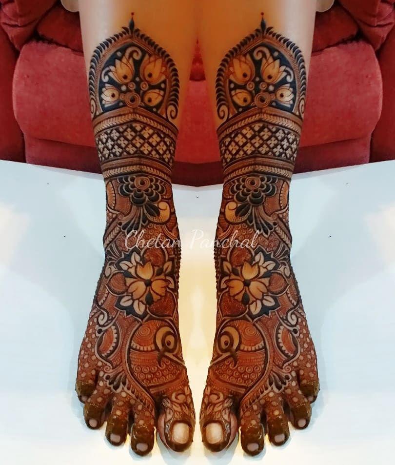 bridal leg mehndi design