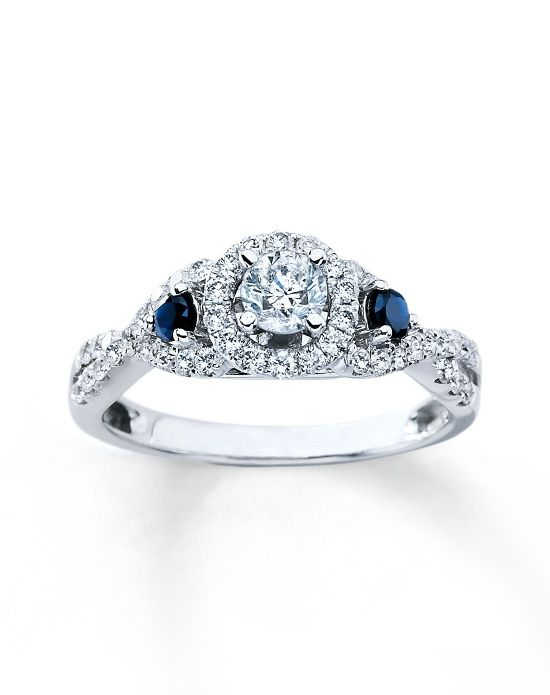 Diamond Sapphire Bridal Engagement Ring 3 4ctw Round 14k White Gold By Kay Jewelers More From Kay Jeweler Trendy Diamond Ring Wedding Ring Kay Fashion Rings