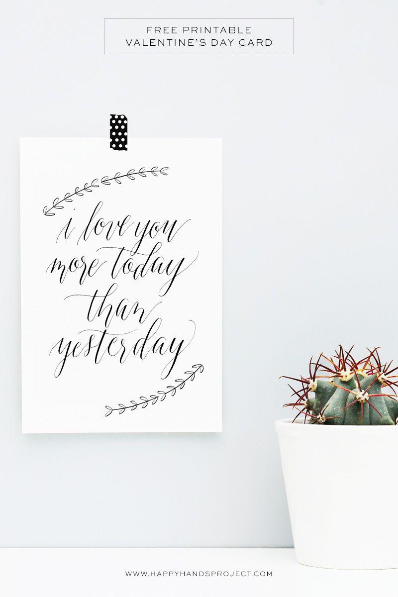 Free Printable Valentine S Day Card Happy Hands Project Happy Valentines Calligraphy Happy Valentines Day Calligraphy Valentines Printables Free
