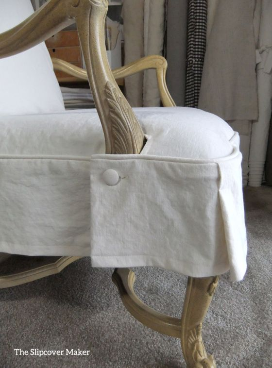French Chair Canvas Slipcover Detail Slipcovers French