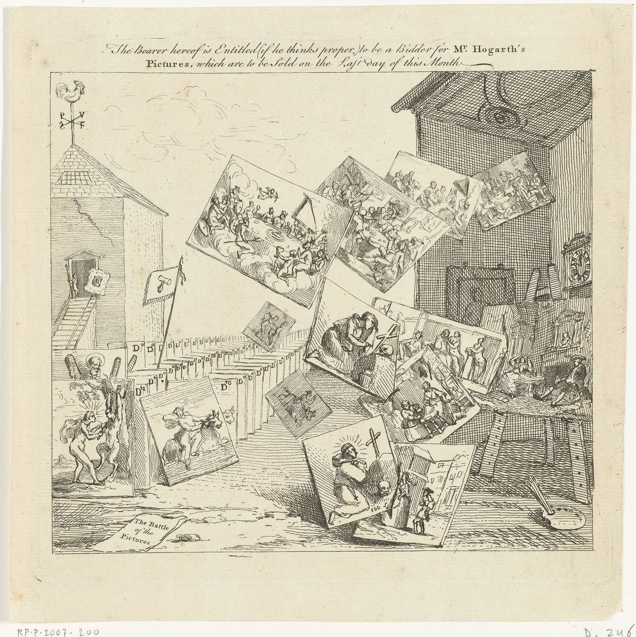 The battle of the pictures, William Hogarth, 1744