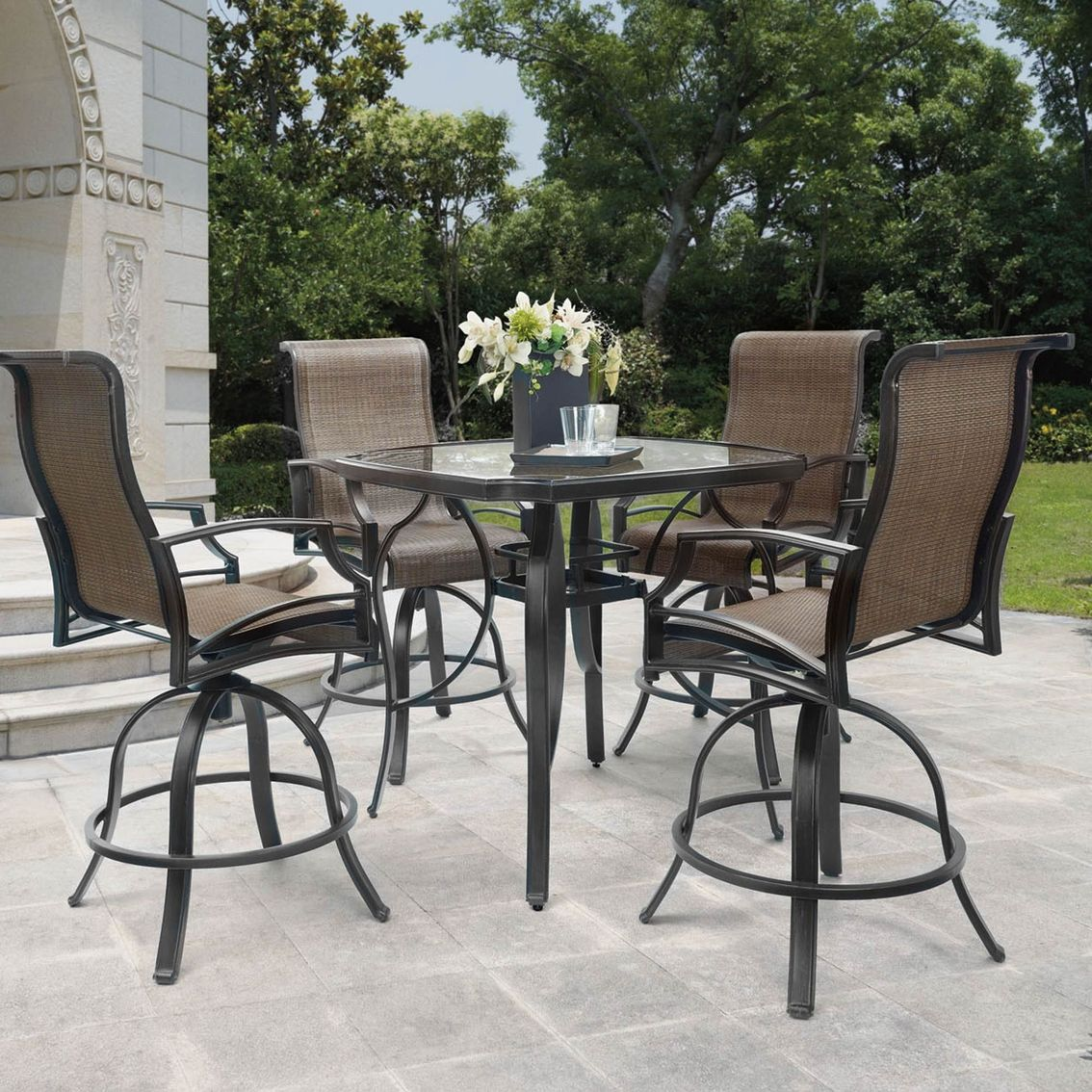 Marvelous Patio Logic Garden Point 5 Pc Balcony Height Dining Set Dining View