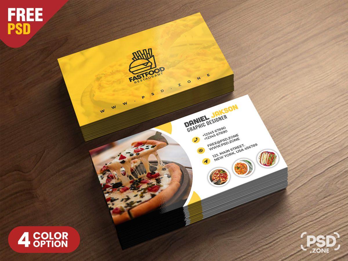 Psd Fast Food Restaurant Business Card Design Kartu Nama Kartu Nama Bisnis Kartu